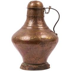 18th Century Spanish Arab Style Copper Water / Milk Jug with Decorative Seam