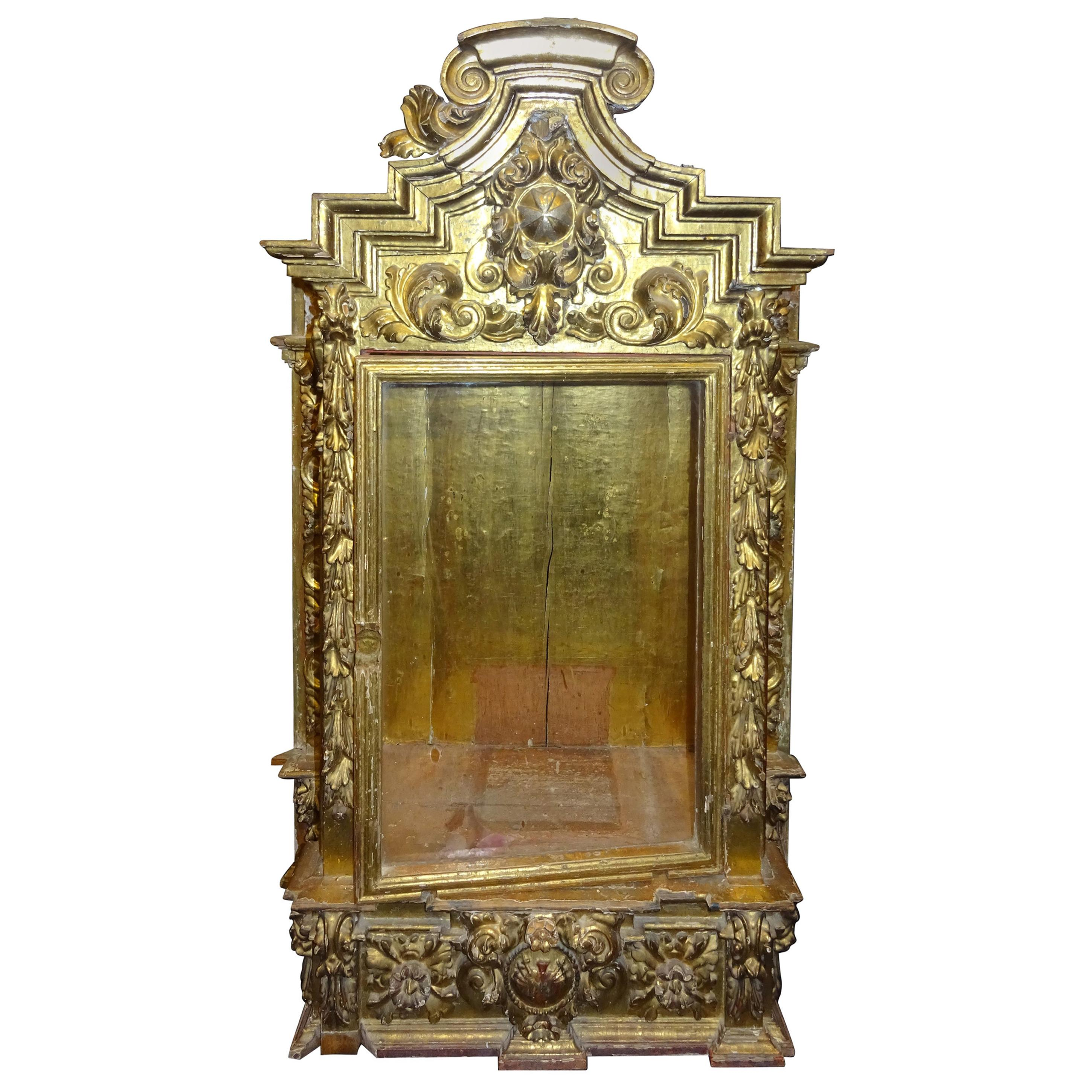 18thSpanish Baroque  Display Carved Gilded Wood and Blown Glass