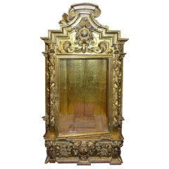 18th Century Spanish Baroque Carved Gilded Wood and Blown Glass Display