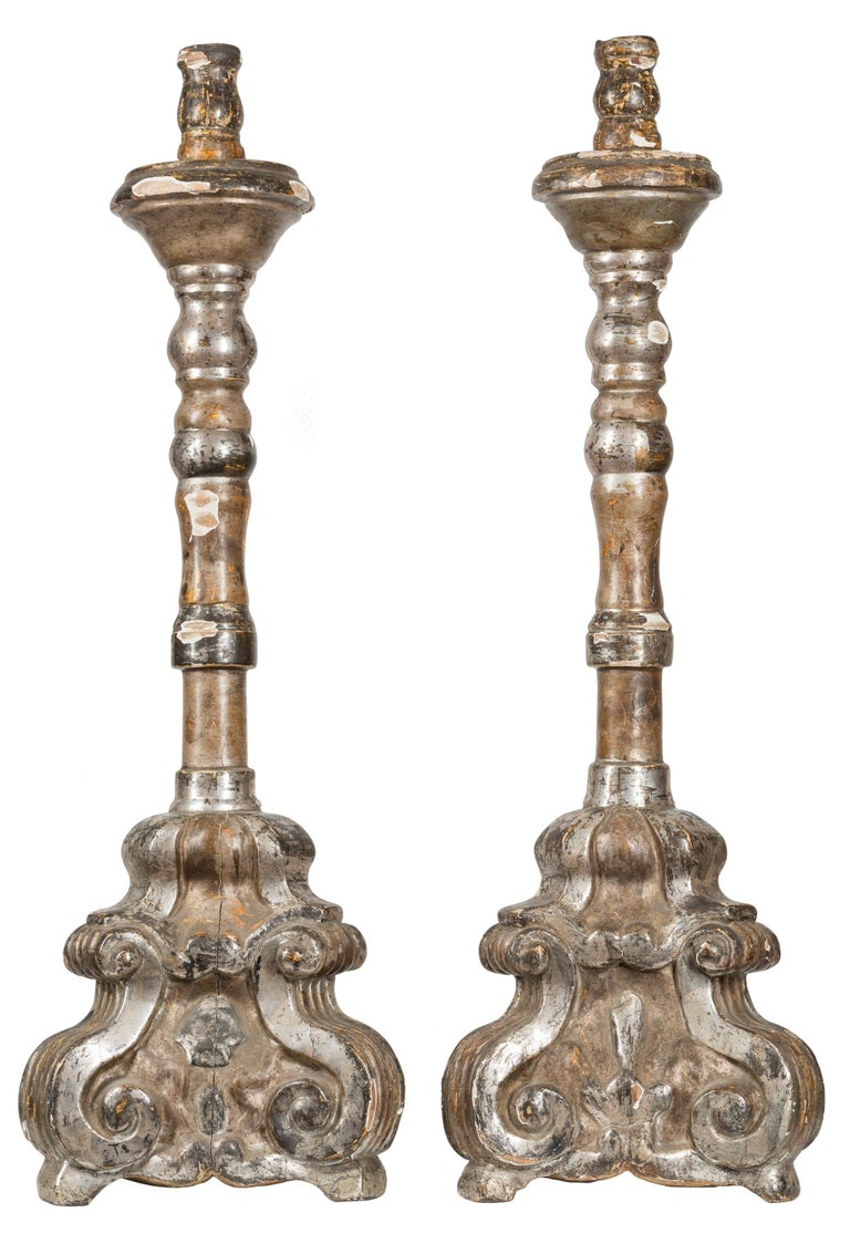 18th Century Spanish Baroque Silver Giltwood Altar Candlesticks In Good Condition For Sale In Madrid, ES