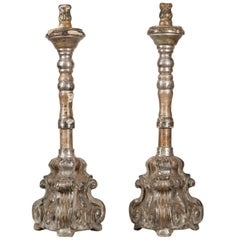 18th Century Spanish Baroque Silver Giltwood Altar Candlesticks
