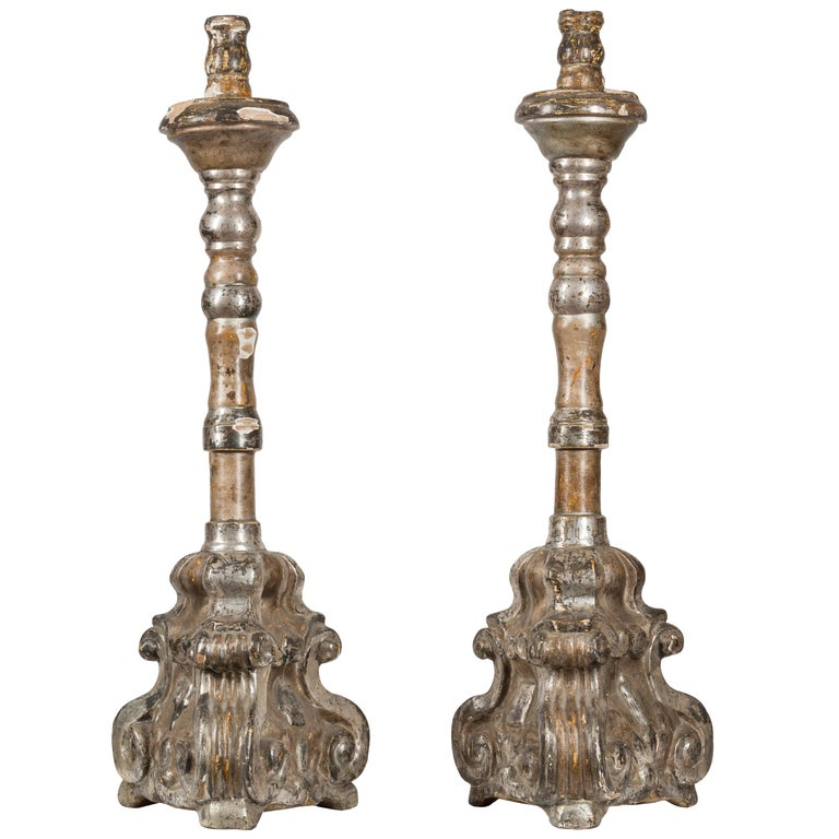 18th Century Spanish Baroque Silver Giltwood Altar Candlesticks For Sale