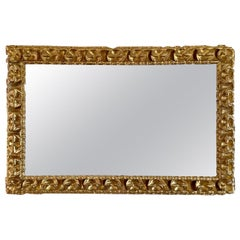 18th Century Spanish Barroque Carved and Giltwood Frame Mirror