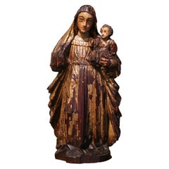 18th Century Spanish Carved Giltwood and Polychrome Statue of Madonna and Child