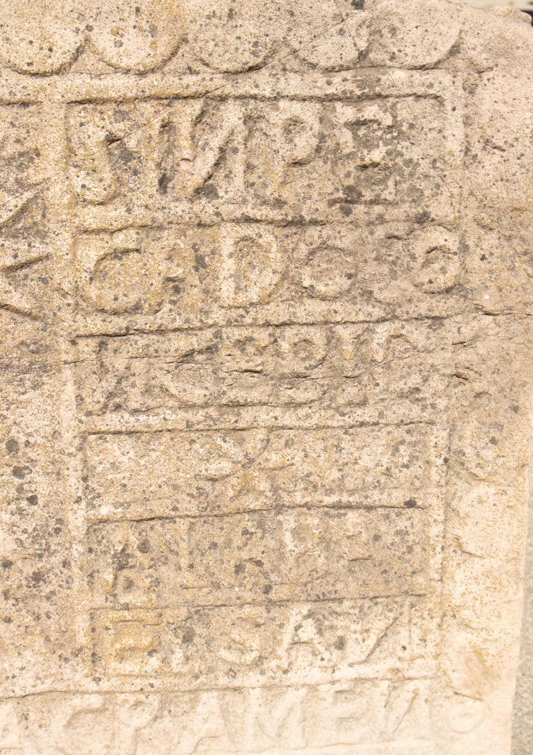 18th Century Spanish Carved Stone Relief with Date and Religious Inscriptions For Sale 6