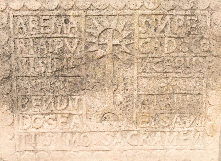 European 18th Century Spanish Carved Stone Relief with Date and Religious Inscriptions For Sale