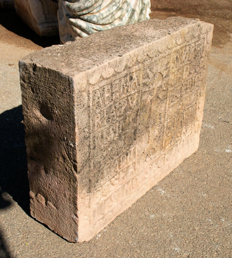 18th Century Spanish Carved Stone Relief with Date and Religious Inscriptions In Good Condition For Sale In Malaga, ES