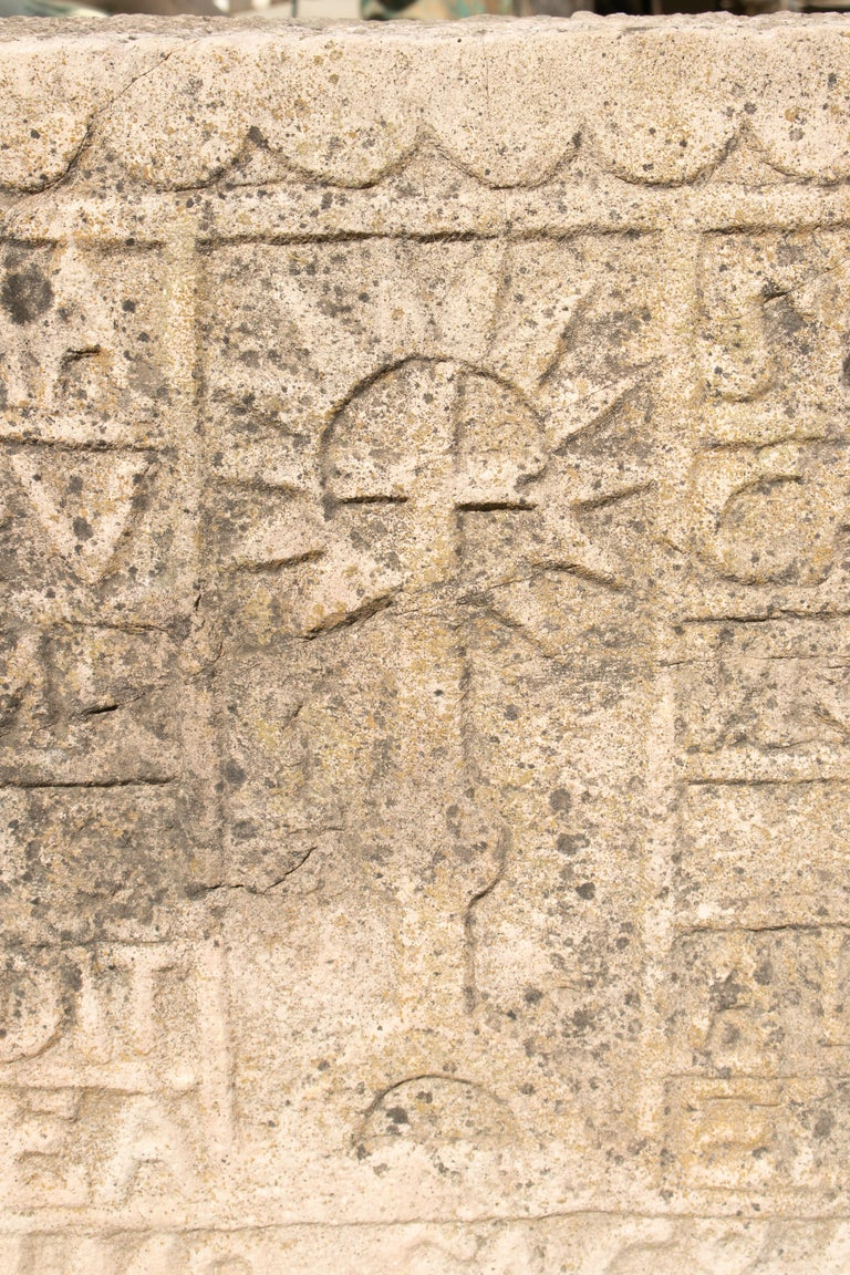 18th Century Spanish Carved Stone Relief with Date and Religious Inscriptions For Sale 4