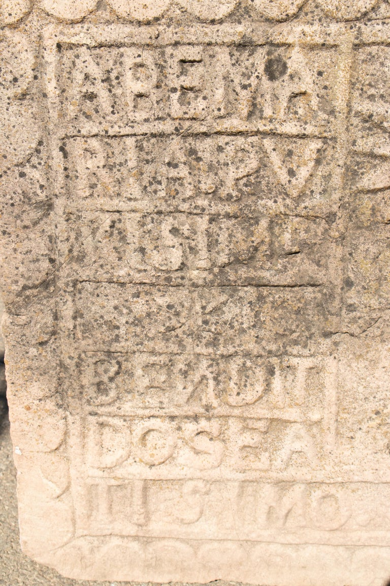 18th Century Spanish Carved Stone Relief with Date and Religious Inscriptions For Sale 5