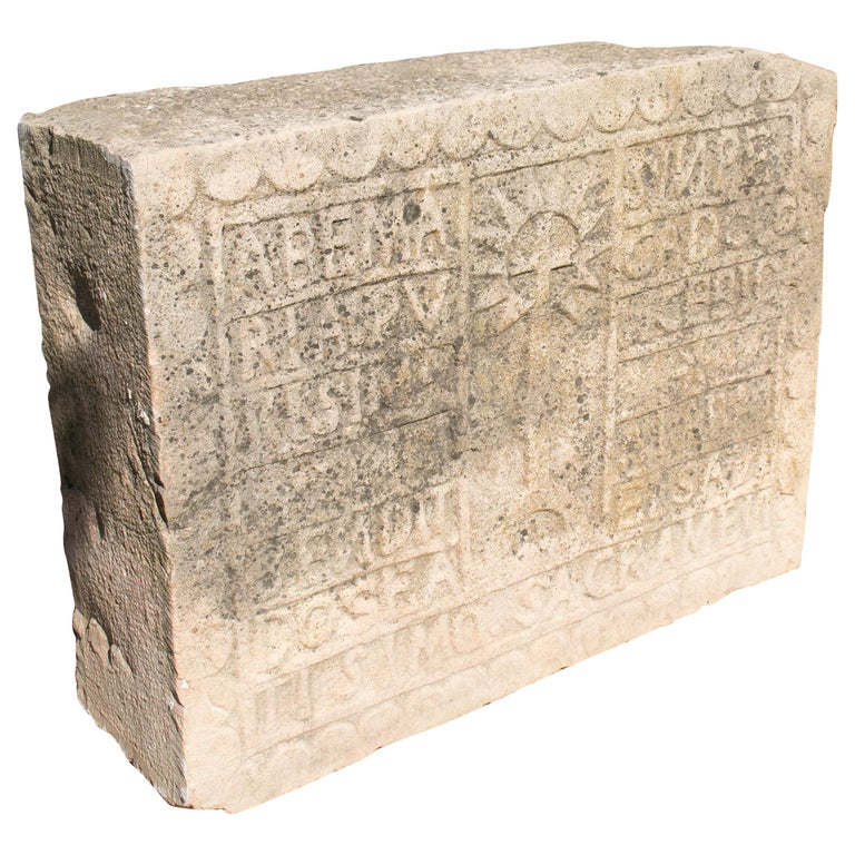 18th Century Spanish Carved Stone Relief with Date and Religious Inscriptions For Sale