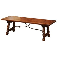 18th Century Spanish Carved Walnut Coffee Table with Iron Stretcher