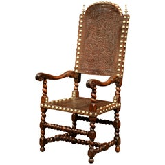 18th Century Spanish Carved Walnut Desk Armchair with Embossed Leather