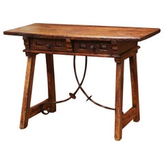 18th Century Spanish Carved Walnut Desk Table with Wrought Iron Stretcher