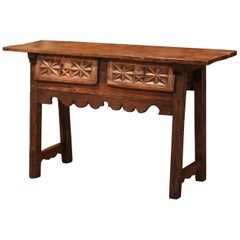 18th Century Spanish Carved Walnut Trestle Console Sofa Table with Drawers