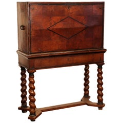 18th Century, Spanish, Carved Walnut Two-Piece Bargueno Cabinet and Base
