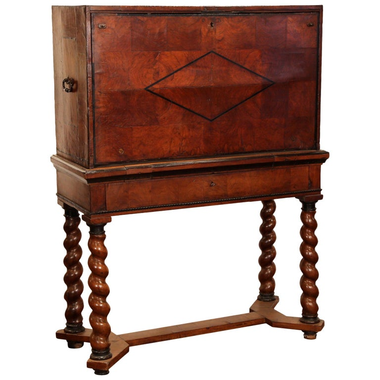 18th Century, Spanish, Carved Walnut Two-Piece Bargueno Cabinet and Base For Sale