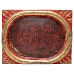 18th Century Spanish Church Painted Wooden Relief Framed Inscription