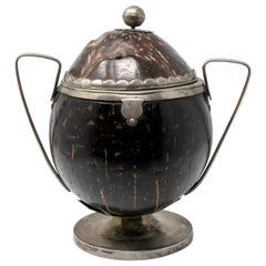 18th Century Spanish Coconut Husk Jar with Silver Fittings