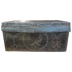 18th Century Spanish Colonial Leather Clad Trunk with Brass Nail Head Detail
