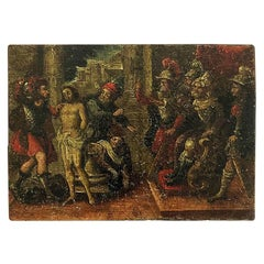 18th Century Spanish Colonial Mexican Oil Painting on Zinc