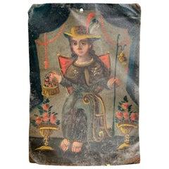 18th Century Spanish Colonial Retablo Oil Painting on Tin