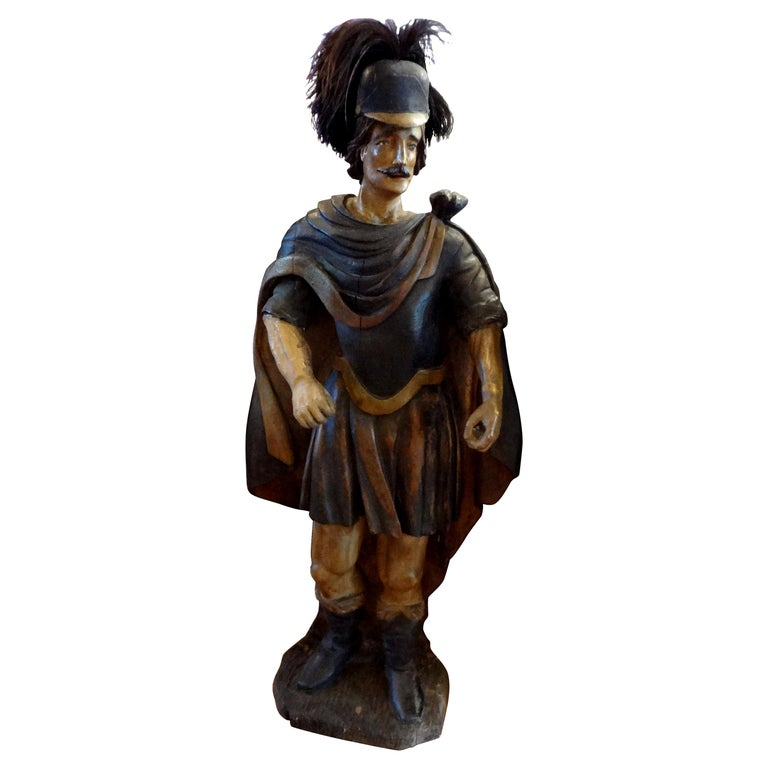 18th Century Spanish Conquistador Carved Wood Figure For Sale