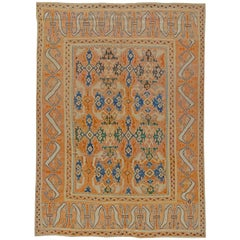 18th Century Spanish Cuenca Handwoven Wool Muted Orange, Blue and Green Rug