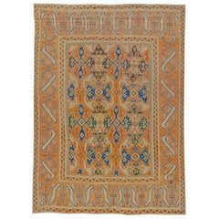 18th Century Spanish Cuenca Handwoven Wool Rug in Muted Orange, Blue and Green