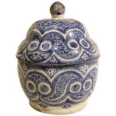 18th Century Spanish Delft Lidded Pot
