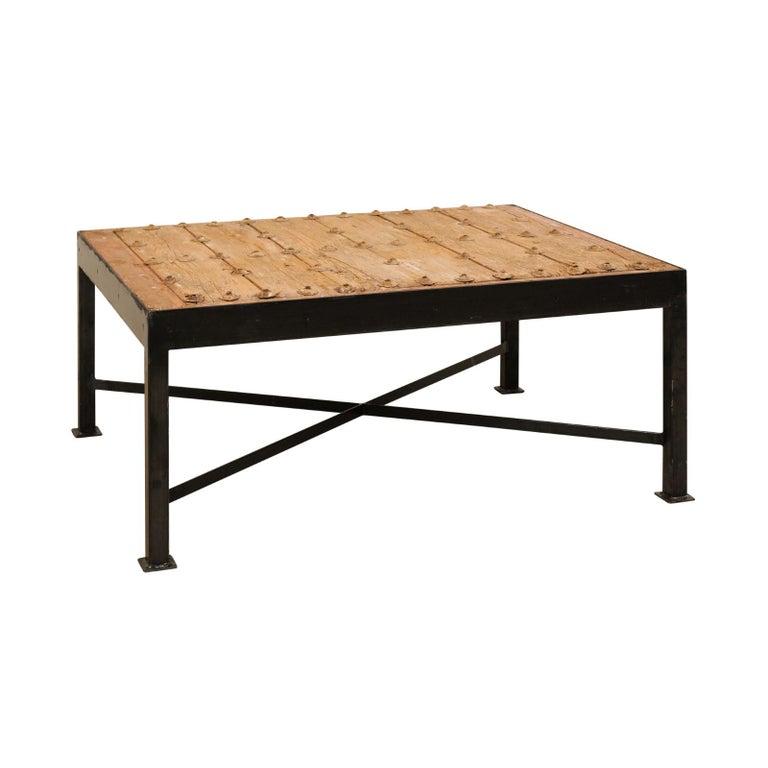 Old Door Coffee Tables For Sale: 18th Century Spanish Door Custom Coffee Table With Black
