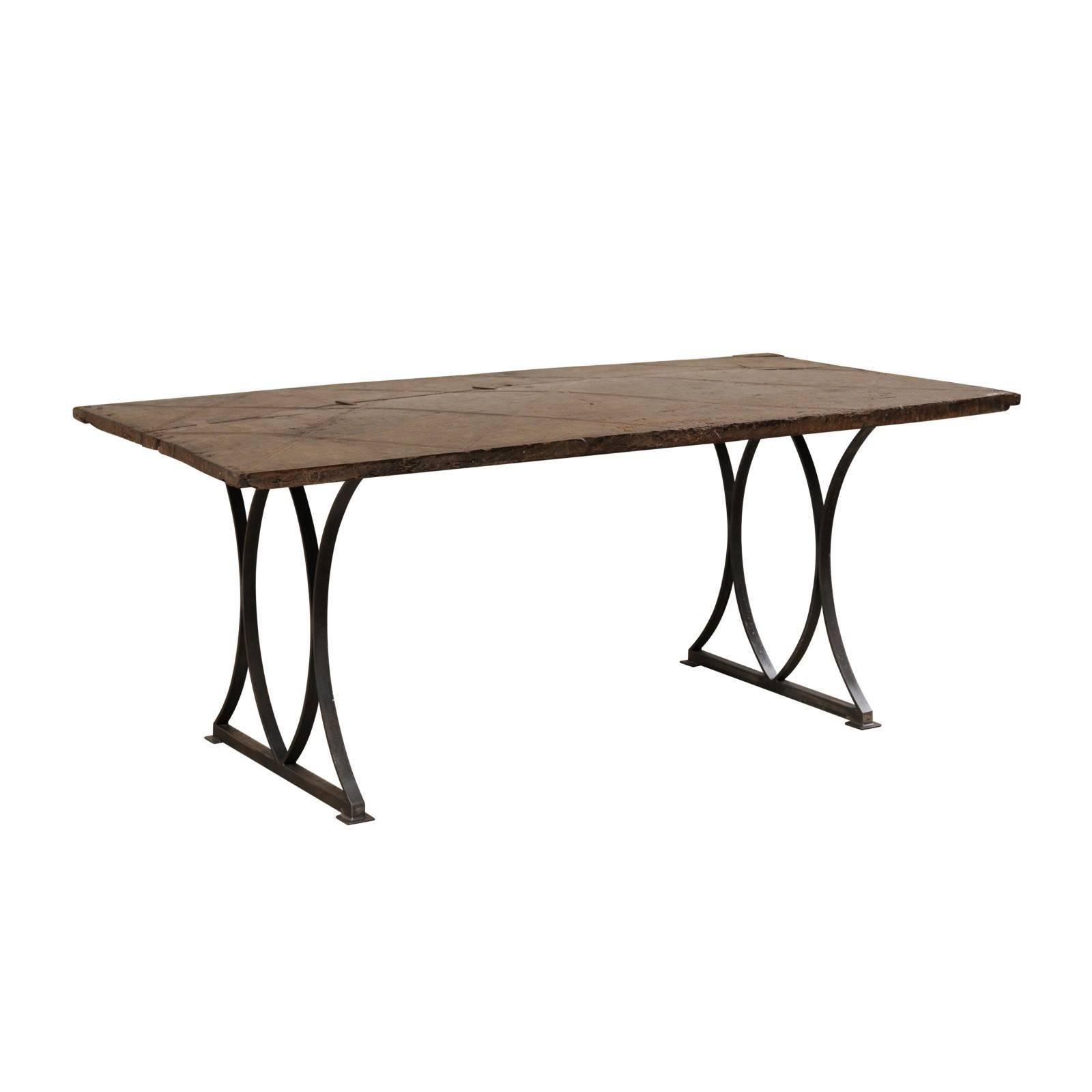 18th Century Spanish Door Made Custom Desk or Table with Iron Trestle Legs
