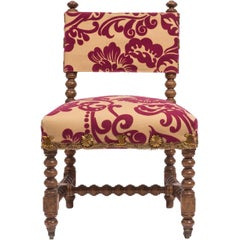 "18th Century Spanish ""Estrado"" or Slipper Chair with New Upholstery"