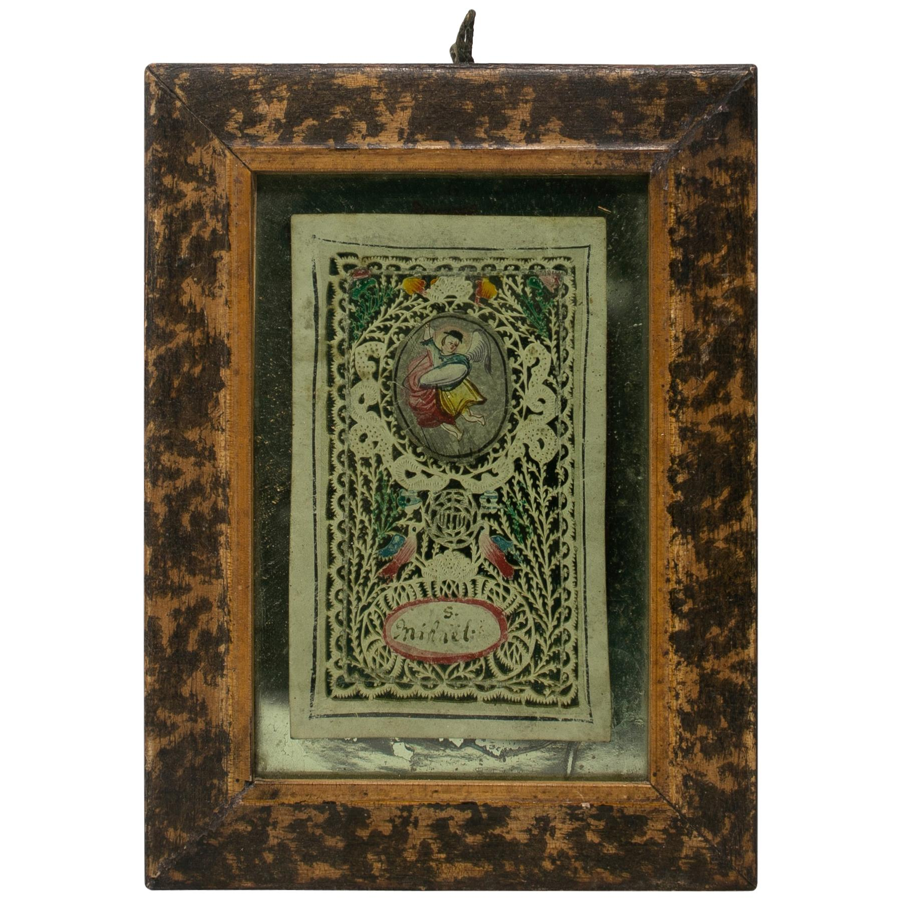 18th Century Spanish Framed Painted Cutout Design