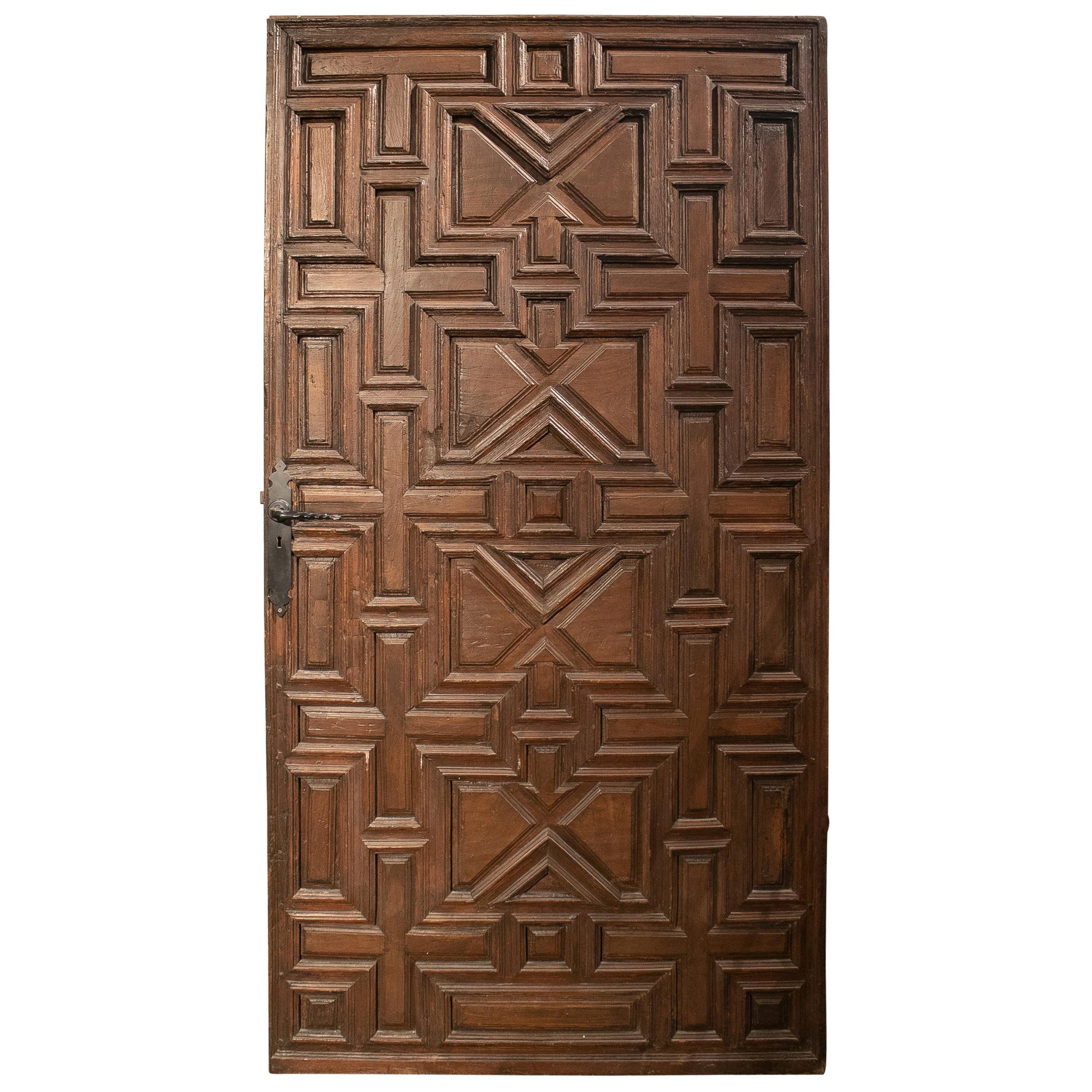 18th Century Spanish Geometric Panelled Wooden Main Door