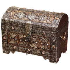 18th Century Spanish Gothic Repousse Silver and Gilt Copper Bombe Treasure Chest