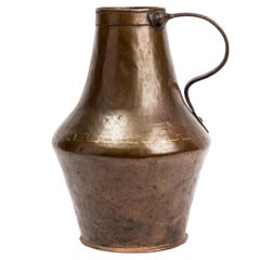 18th Century Spanish Hammered Copper Pitcher with Iron Handle