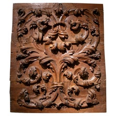 18th Century Spanish Hand Carved Baroque Wooden Bass-Relief Panel w/ Scrolls