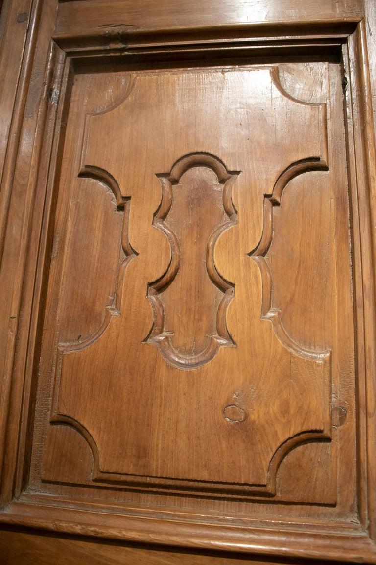 18th Century Spanish Hand Carved Paneled Wooden Door 5
