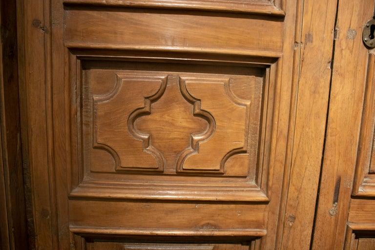 18th Century Spanish Hand Carved Paneled Wooden Door 6