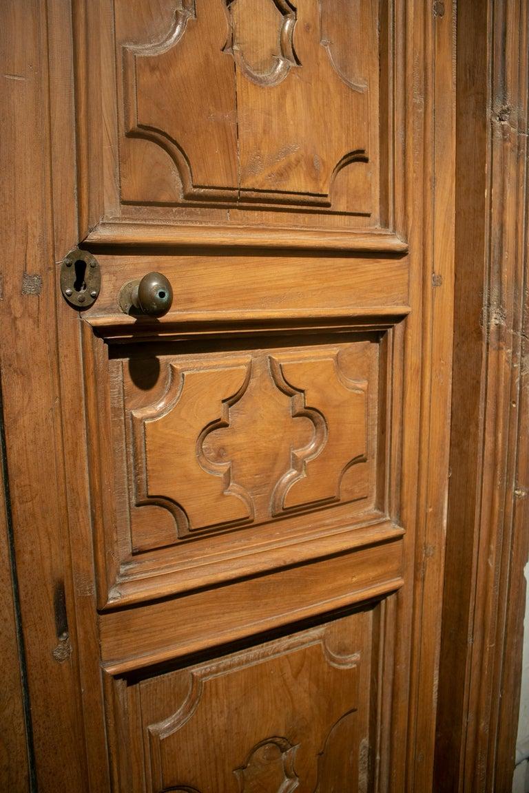 18th Century Spanish Hand Carved Paneled Wooden Door 7