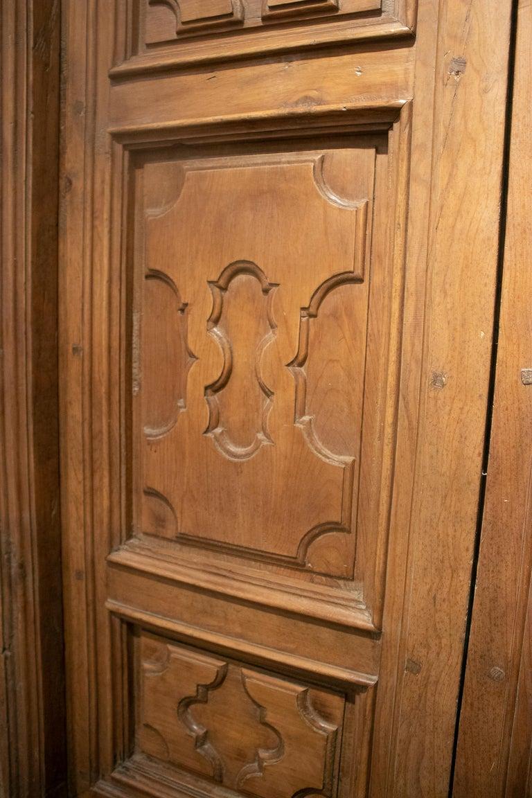 18th Century Spanish Hand Carved Paneled Wooden Door 8