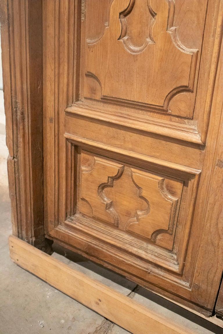18th Century Spanish Hand Carved Paneled Wooden Door 10