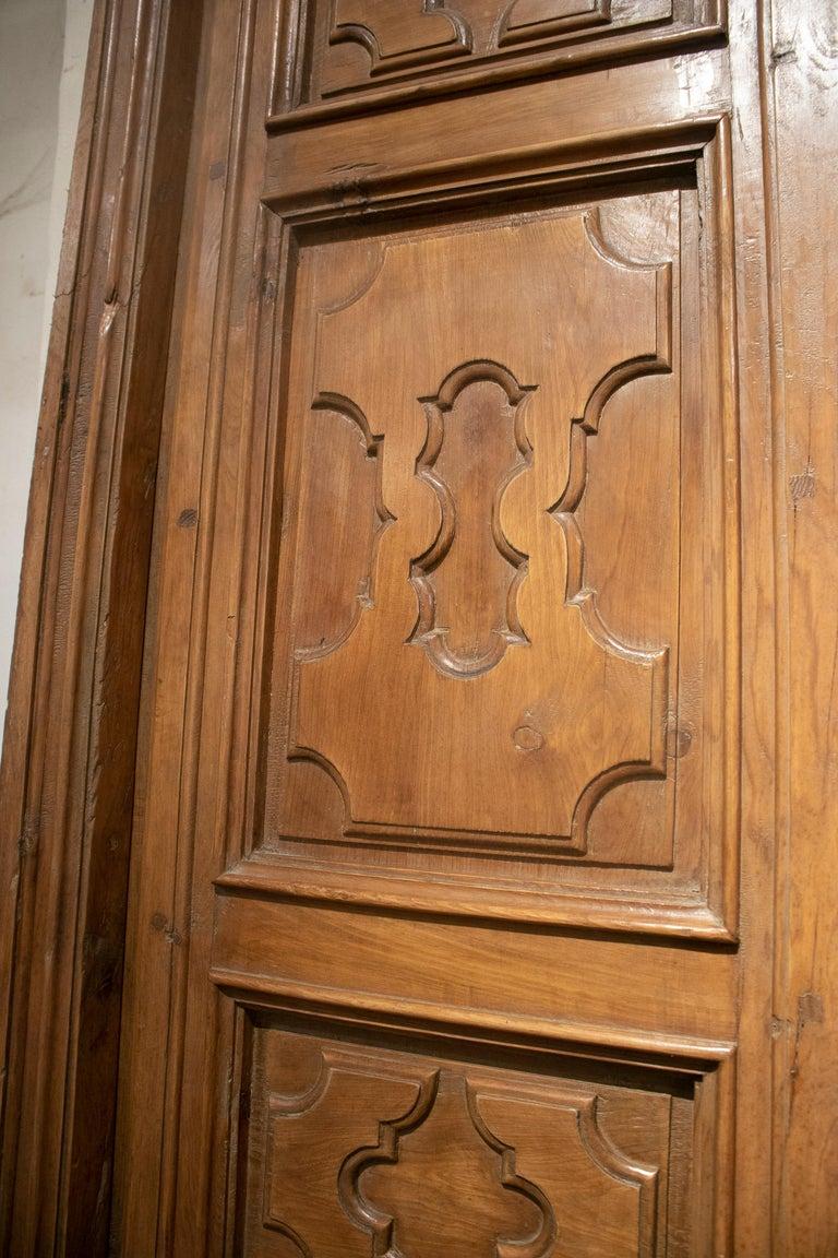 18th Century Spanish Hand Carved Paneled Wooden Door 11