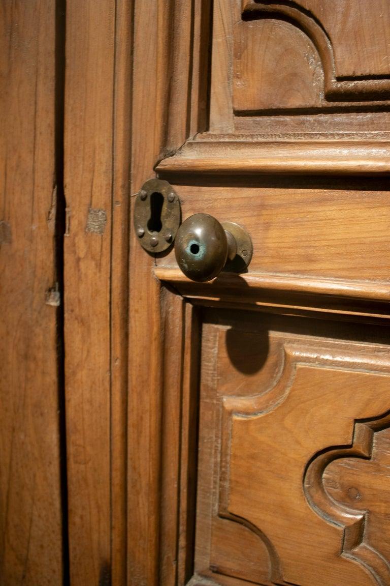 18th Century Spanish Hand Carved Paneled Wooden Door 12