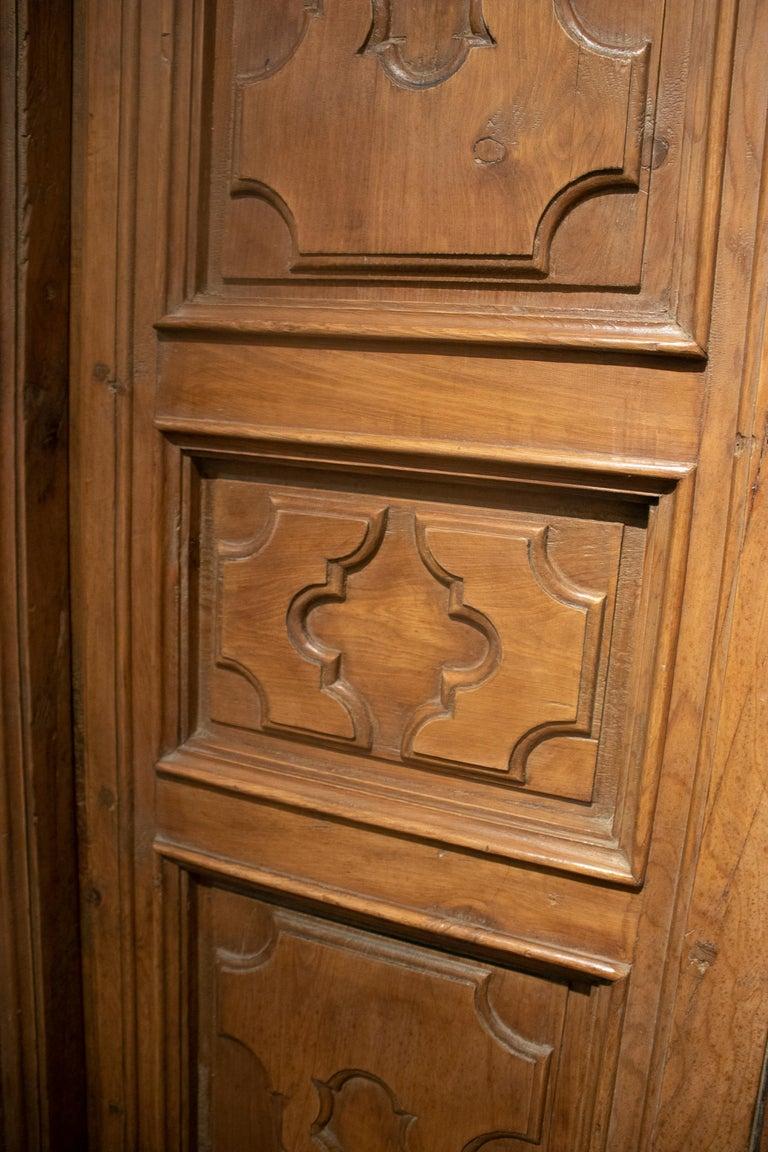 18th Century Spanish Hand Carved Paneled Wooden Door 13