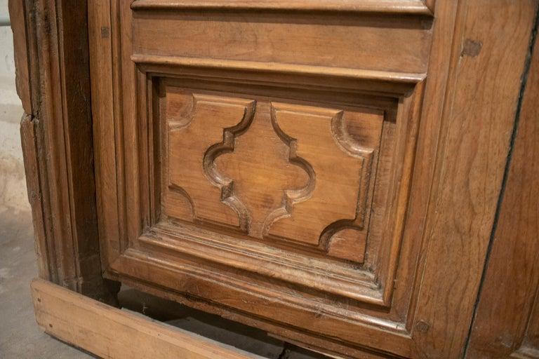 18th Century Spanish Hand Carved Paneled Wooden Door 15