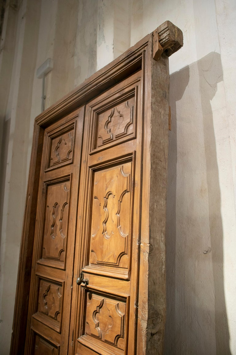 18th Century Spanish Hand Carved Paneled Wooden Door In Good Condition In Malaga, ES