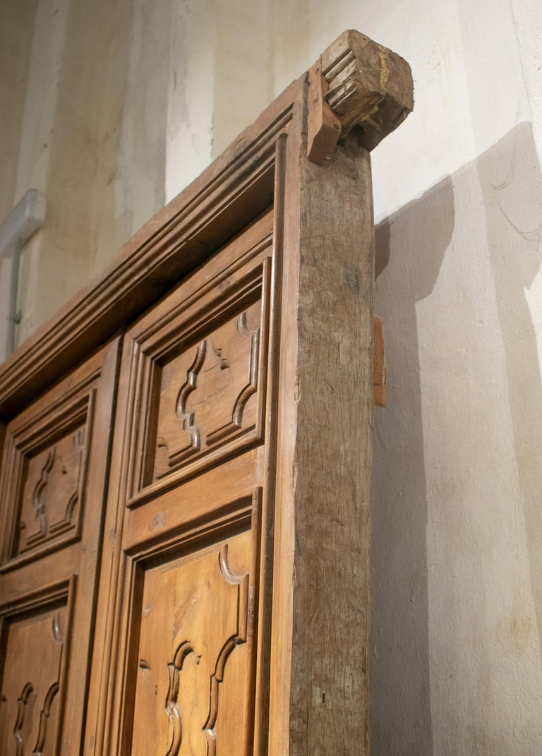 18th Century and Earlier 18th Century Spanish Hand Carved Paneled Wooden Door