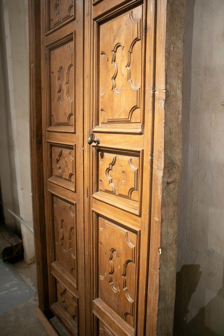 Walnut 18th Century Spanish Hand Carved Paneled Wooden Door