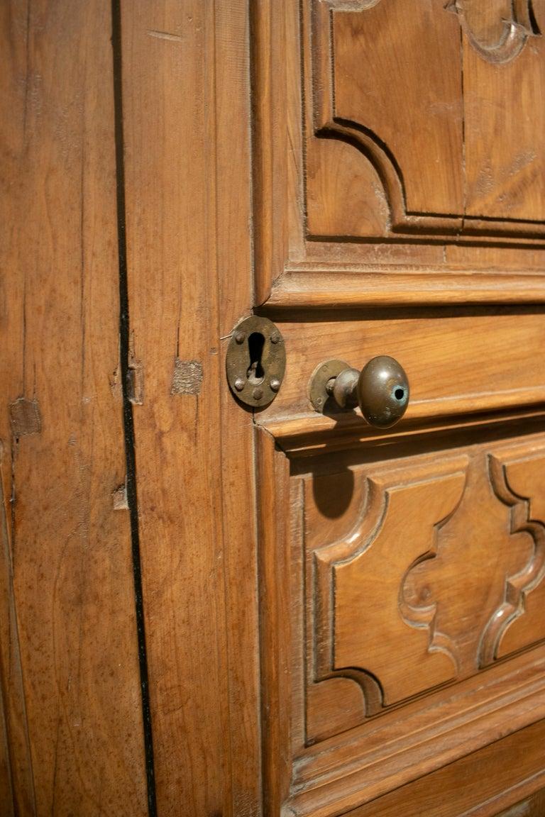 18th Century Spanish Hand Carved Paneled Wooden Door 1